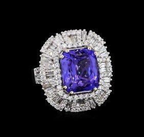 10.88ct Tanzanite And Diamond Ring - 18kt White Gold