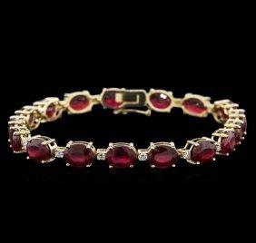 14kt Yellow Gold 27.30ctw Ruby And Diamond Bracelet
