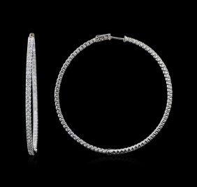 4.47ctw Diamond Hoop Earrings - 14kt White Gold