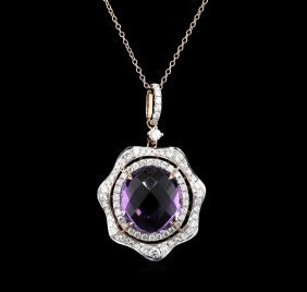 7.05ct Amethyst And Diamond Pendant With Chain - 14kt