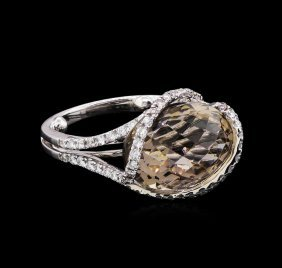 3.00ct Smoky Quartz And Diamond Ring - 18kt White Gold