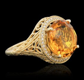 14kt Yellow Gold 7.67ct Quartz And Diamond Ring