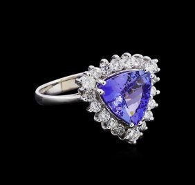 2.32ct Tanzanite And Diamond Ring - 14kt White Gold