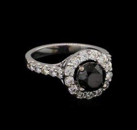 2.68ctw Black Diamond Ring - 14kt White Gold