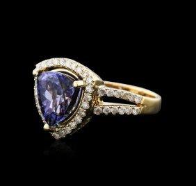 14kt Yellow Gold 5.03ct Tanzanite And Diamond Ring