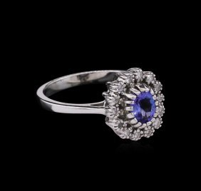 0.75ct Tanzanite And Diamond Ring - 14kt White Gold