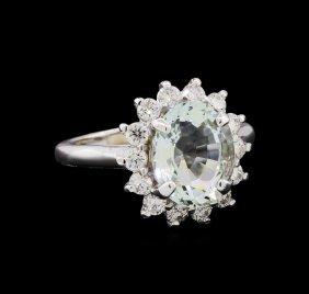 2.81ct Aquamarine And Diamond Ring - 14kt White Gold