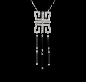 Onyx And Diamond Necklace - 14kt White Gold