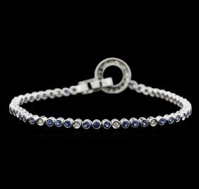 1.52ctw Sapphire And Diamond Bracelet - 18kt White Gold