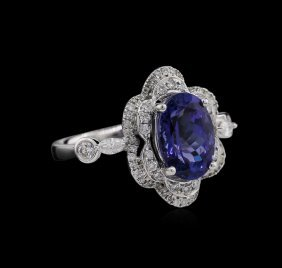 3.31ct Tanzanite And Diamond Ring - 18kt White Gold