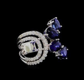 3.51ctw Blue Sapphire And Diamond Ring - 14kt White