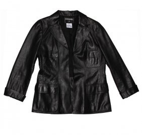 Ladies Chanel Black Leather Jacket