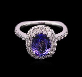 1.80ct Tanzanite And Diamond Ring - 14kt White Gold