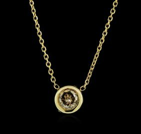 14kt Yellow Gold 0.34ct Brown Diamond Necklace