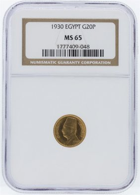 1930 Ngc Ms65 Egypt King Fuad 20 Piastres Gold Coin