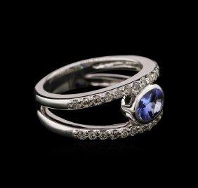 0.74ct Tanzanite And Diamond Ring - 14kt White Gold