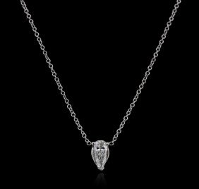 14kt White Gold 0.36ct Diamond Solitaire Necklace