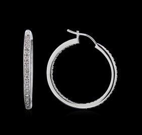 0.58ctw Diamond Hoop Earrings - 18kt White Gold