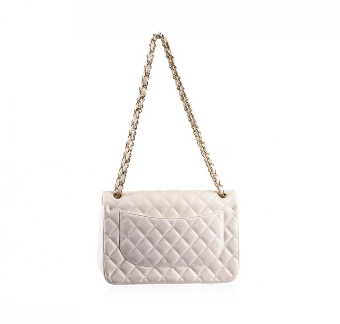 100% Authentic Chanel Flap Bag Jumbo White Lambskin - 4