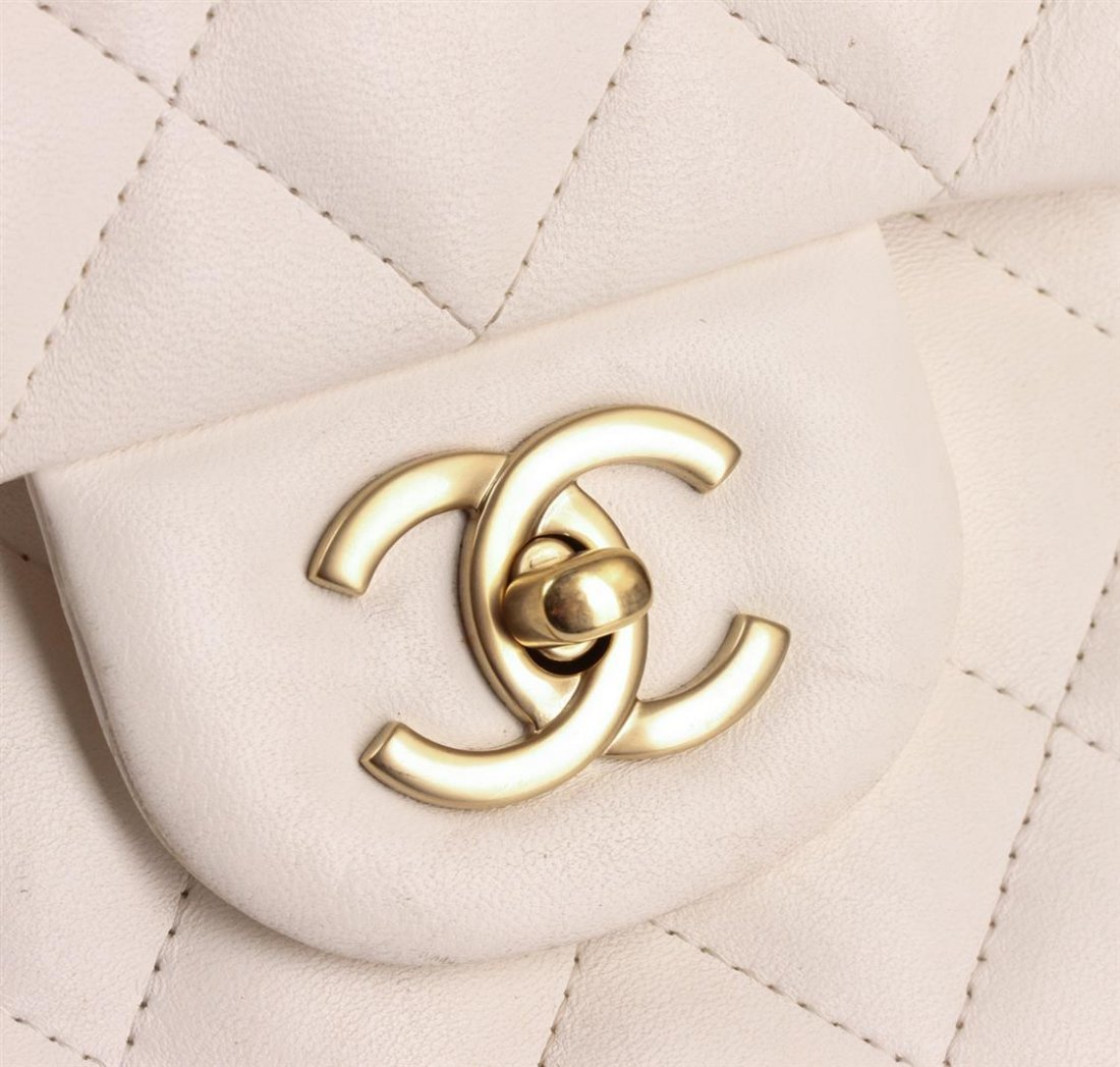 100% Authentic Chanel Flap Bag Jumbo White Lambskin - 5