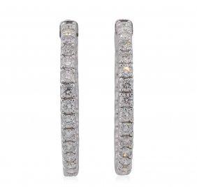 14kt White Gold 4.18ctw Diamond Earrings
