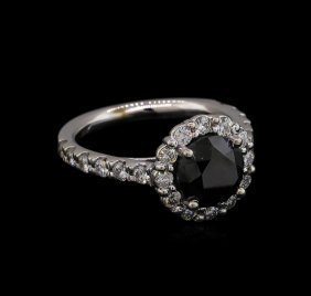 3.56ctw Black Diamond Ring - 14kt White Gold