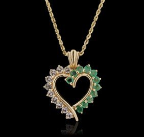 14kt Yellow Gold 1.00ctw White Topaz And Emerald