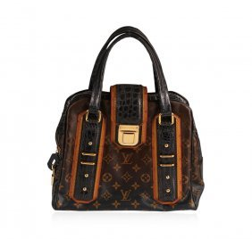 Louis Vuitton Limited Navy Blue And Tan Leather Purse