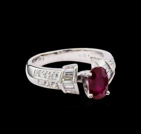 0.91ct Ruby And Diamond Ring - 14kt White Gold