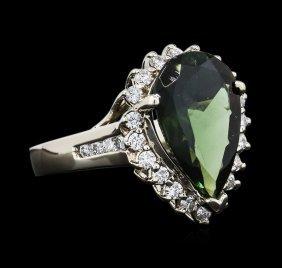 14kt White Gold 4.23ct Green Tourmaline And Diamond