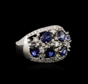14kt White Gold 3.12ctw Sapphire And Diamond Ring