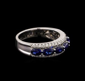 1.80ctw Sapphire And Diamond Ring - 18kt White Gold