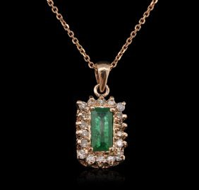14kt Rose Gold 0.91ct Emerald And Diamond Pendant With