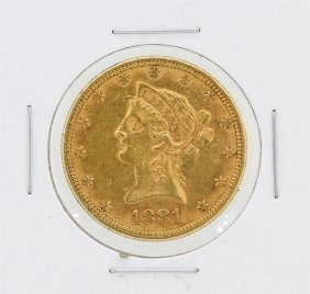 1881 $10 Au Liberty Head Eagle Gold Coin