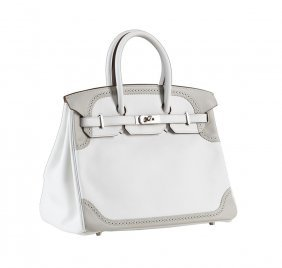Hermes 35cm White And Gris Perle Swift Leather Ghillies