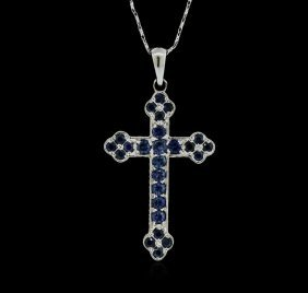 18kt White Gold 1.25ctw Sapphire Cross Pendant With