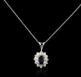 14kt White Gold 0.74ct Sapphire And Diamond Pendant