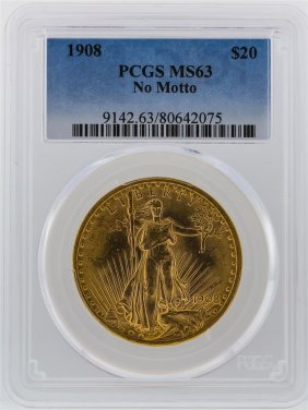 1908 Pcgs Ms63 $20 No Motto St. Gaudens Double Eagle