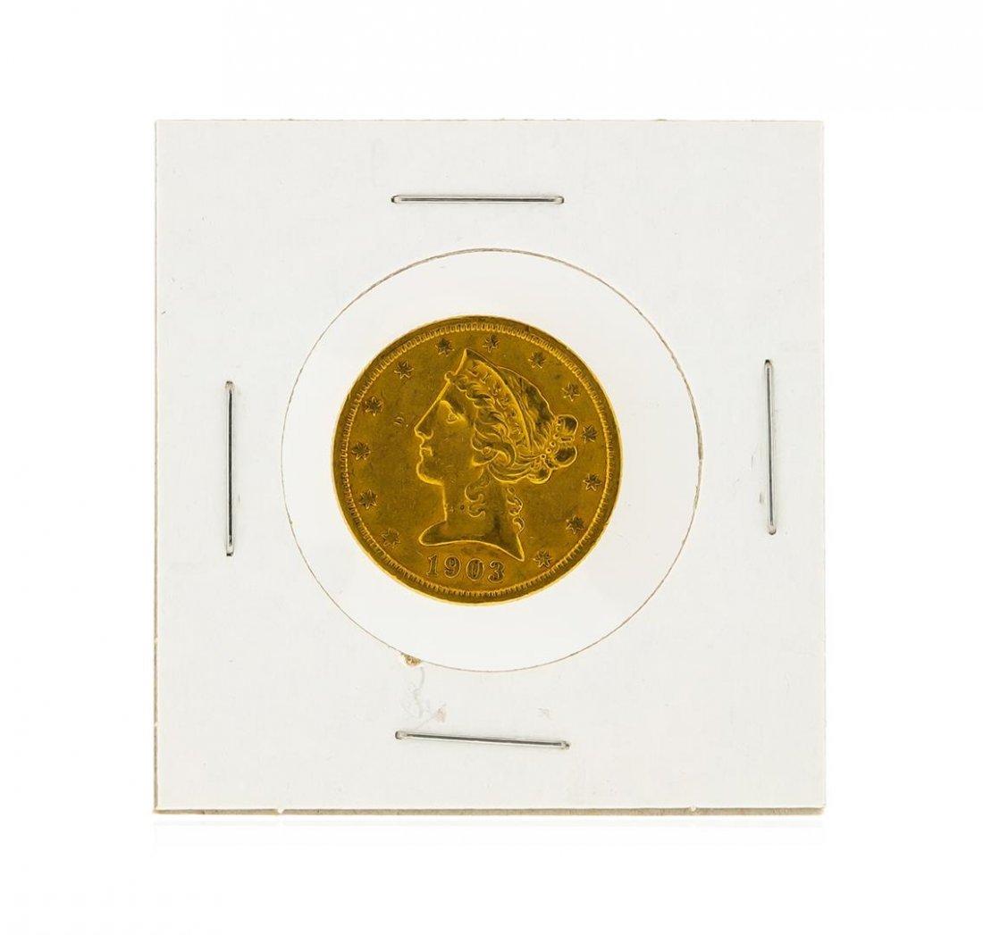 1903-S $5 AU Liberty Head Half Eagle Gold Coin