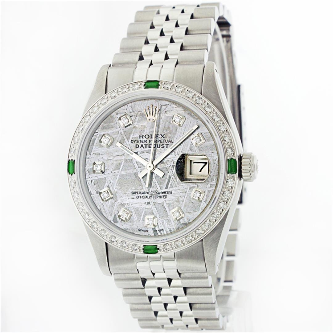 Rolex Stainless Steel 1.00ctw Diamond and Emerald