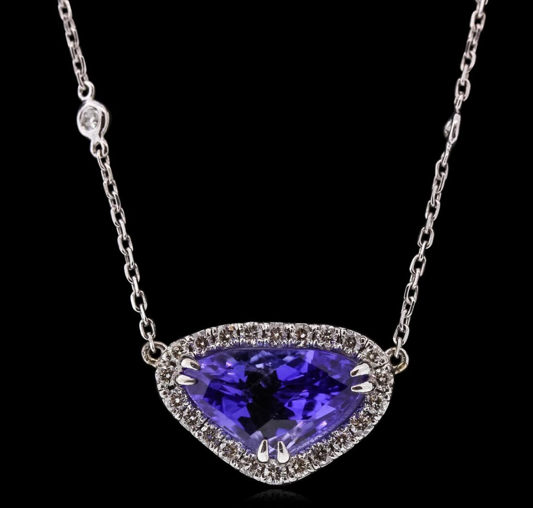 14KT White Gold 5.52ct Tanzanite and Diamond Necklace