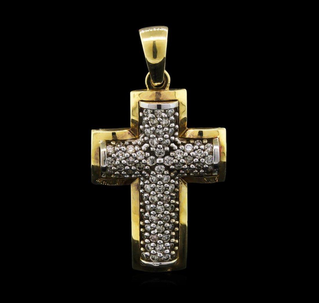 0.70ctw Diamond Cross Pendant - 14KT Yellow Gold