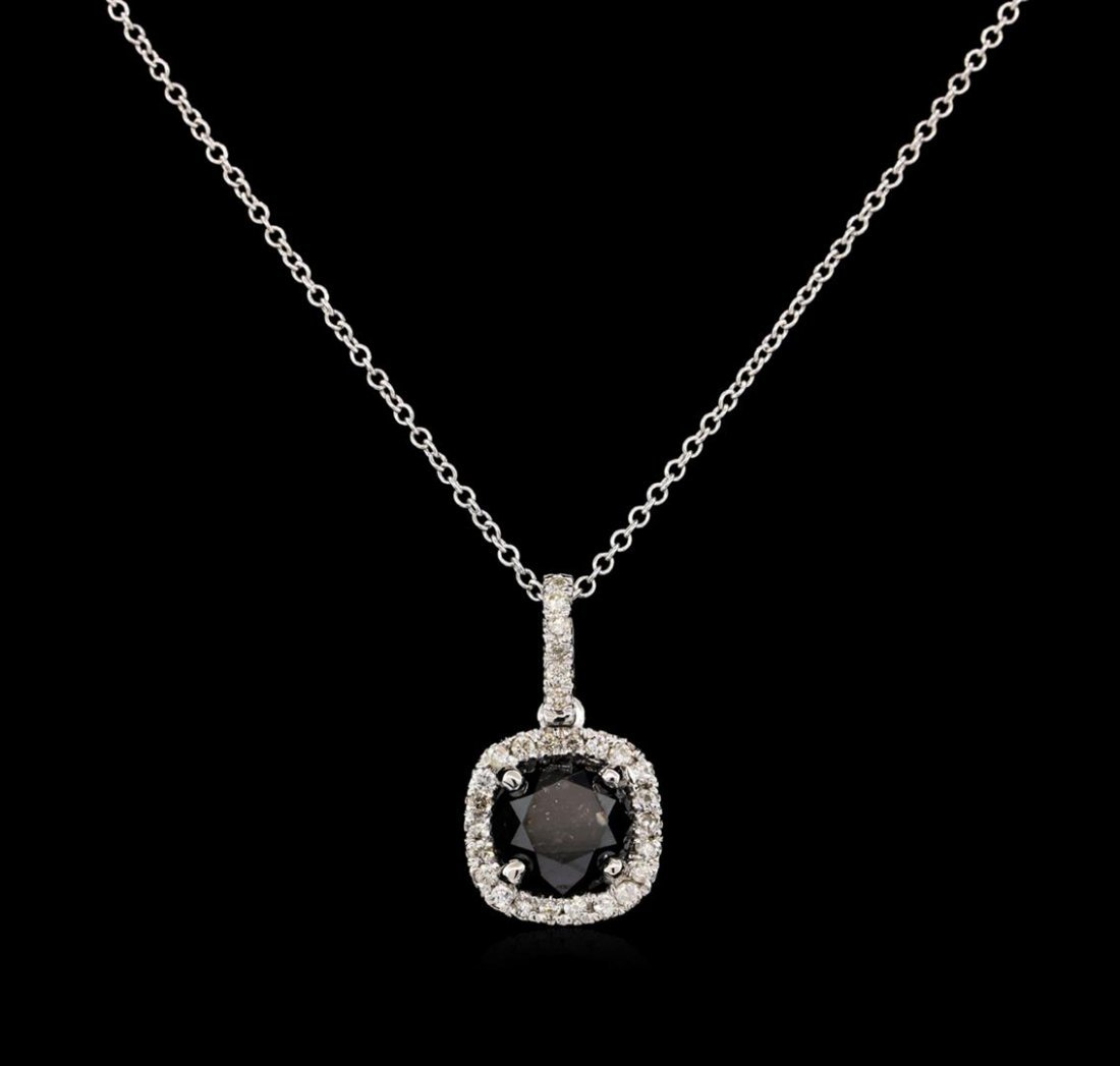 3.18ct Black Diamond Pendant - 14KT White Gold