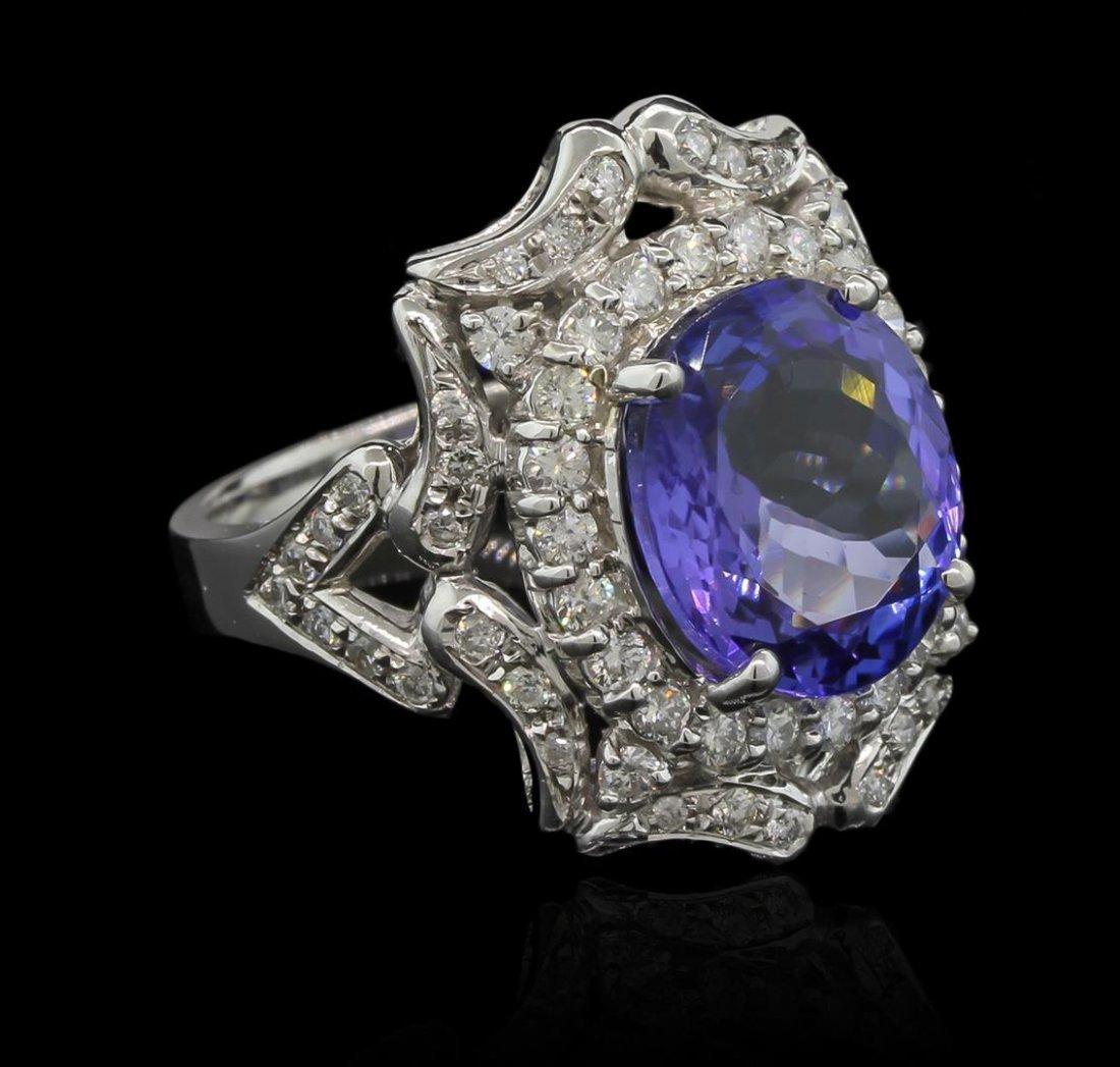 6.02ct Tanzanite and Diamond Ring - 14KT White Gold
