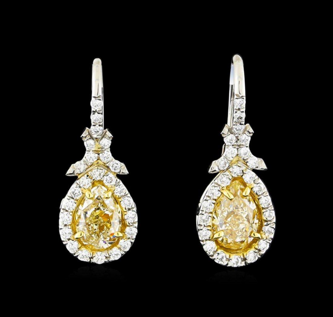 EGL USA Cert 2.62ctw Fancy Yellow Diamond Earrings -