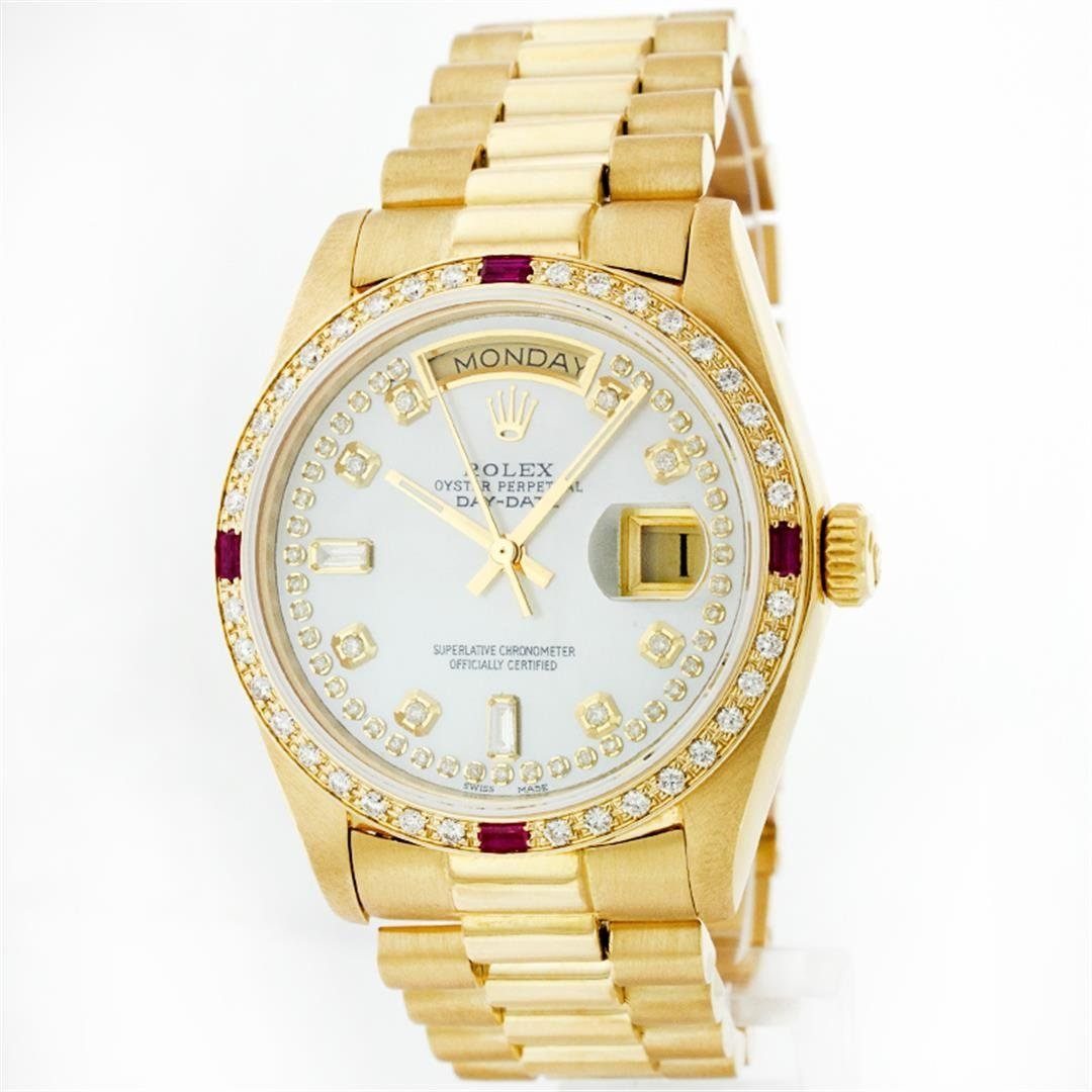Rolex President 18KT Gold 1.00ctw Diamond And Ruby