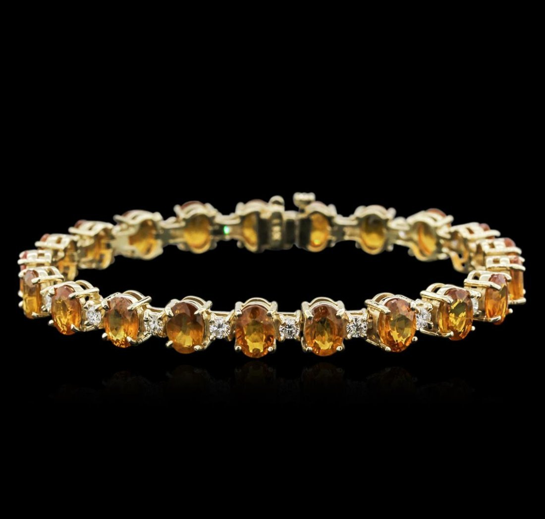 14KT Yellow Gold 21.40ctw Yellow Sapphire and Diamond