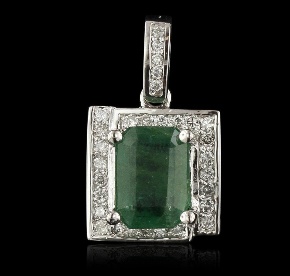 14KT White Gold 3.06ct Emerald and Diamond Pendant