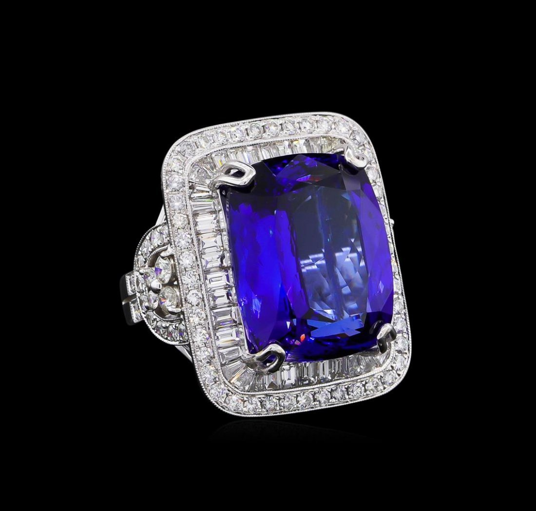 18KT White Gold GIA Certified 21.75ct Tanzanite and