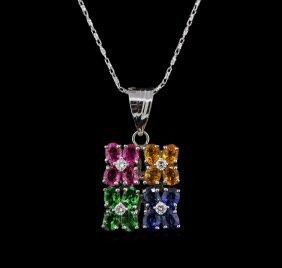 2.00ctw Multi Sapphire And Diamond Pendant With Chain -